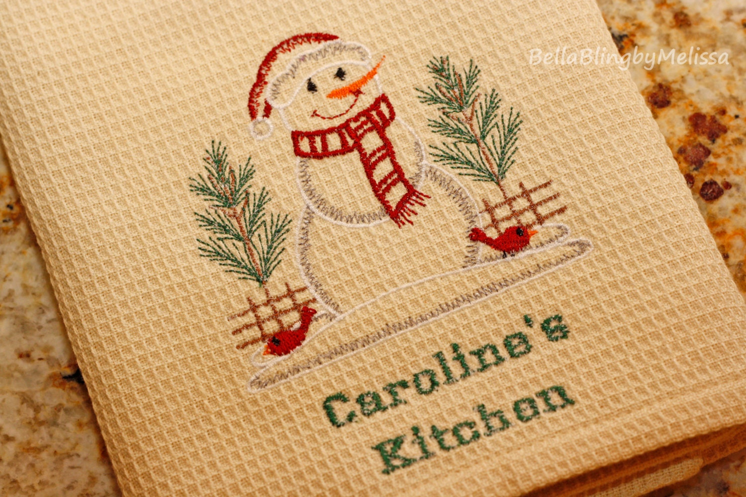 Personalized Christmas Kitchen Towel by BellaBlingbyMelissa