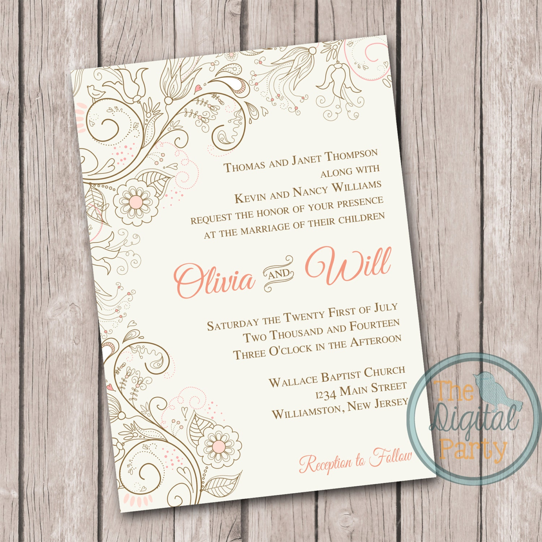 Printing Your Own Wedding Invitations: Digital Wedding Invitation Print Your Own By Thedigitalparty