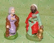 2 piece Chalk ware Christmas Nativity Set Antique Christmas Decor Rustic Joseph and Wise man