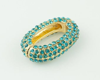 Pave Rhinestone Beads, Chain Link for Bracelet and Necklace, with Blue Zircon Rhinestones, 29x21mm, Pkg of 1 PCS, L0C9.RH22.P01