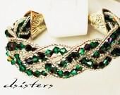 Swarovski bracelet,Elegant.Green Vintage Sterling, wedding bracelet,BEADED,gift,silver,purple,swarovski