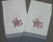 Hand Embroidered Tea Towels - Patriotic Stars -  Set of Two - Reserved for Sally