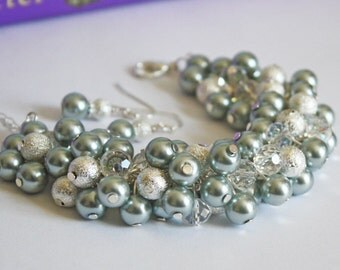 CLEARANCE  - Bridesmaid Gray Pearl Cluster Bracelet, Gray Bracelet, Cluster Bracelet, Pearl Bracelet, Bridesmaid Bracelet, Silver Bracelet