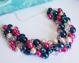 Navy and Hot Pink Cluster Necklace, Navy and Shades of Pink Necklace, Wedding Gift, Bridesmaids Navy Necklace, Navy Pearl Cluster Necklace