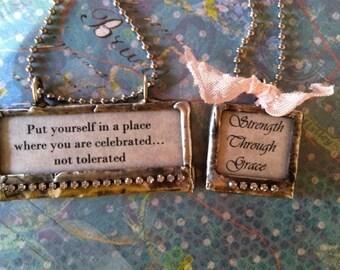 soldered glass pendant, handcrafted, heartfelt sentiments, rhinestones