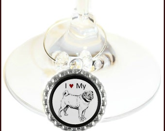 Pug Wine Glass Charms - Pug Dog Wine Charms - Pug Gifts - Dog Gifts - Dog Wine Charms - Dog Breed Wine Charms - Pugs - Set Of 6