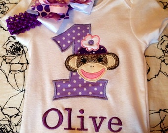 Personalized Sock Monkey First Birthday onesie and bow