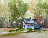 watercolor landscape painting landscape watercolor farm painting farm landscape art print landscape print ATC traditional SMALL