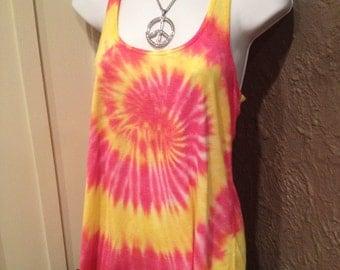 Tye dye tank, hand dye flowy tank, women/teen tie dye flowy tank, hand dyed flowy tank, hot pink and yellow tie dye tank