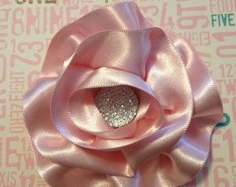 Light Pink Satin Flower Hair Clip/ Hair Bow