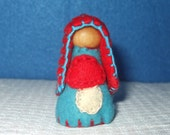 Little Miss Mushroom in Red and Blue, Eco-Friendly, Waldorf Inspired,Wool and Wood Peg People, Dollhouse Doll, Nature Table
