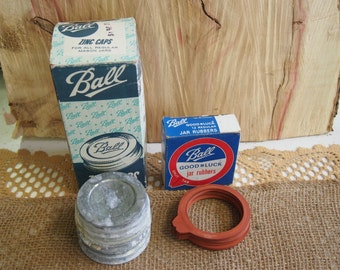 Zinc Jar Lids and Jar Rubbers Antique - Vintage Canning/Jars