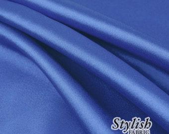 "60"" Royal Blue Charmeuse Satin Fabric by the Yard, Charmeuse Fabrics, Charmeuse Satin, Bridal Wedding Satin Fabric- 1 Yard Style 2800"