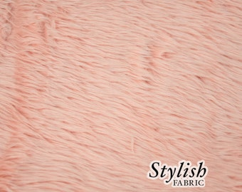 Dusty Pink Pile Luxury Shag Faux Fur Fabric by the yard for costume, throws, home furnishing, photo props - 1 Yard Style 5009