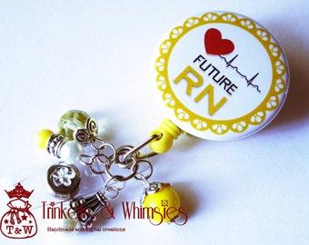 Future RN Student Nurse Yellow Retractable Badge Holder