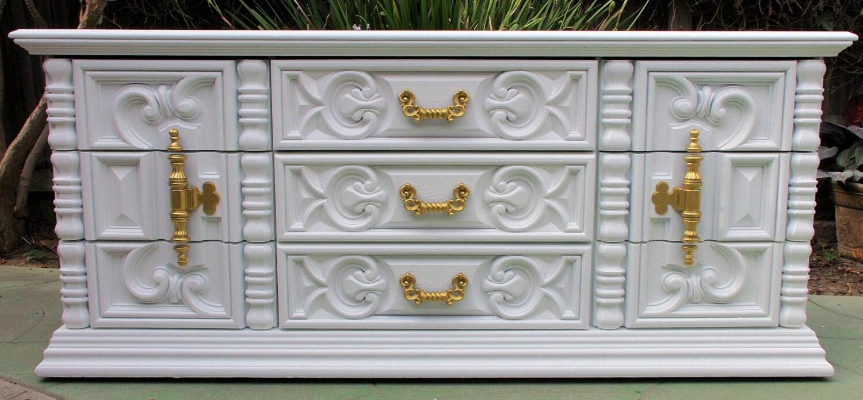 Bedroom Set Ornate Hollywood Regency Carved 70s Dresser Onlu