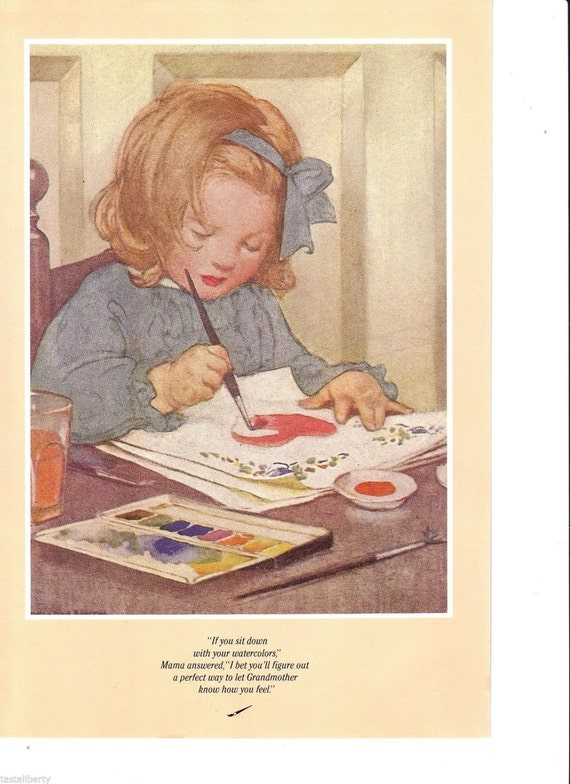 Nursery Art Vintage Print ILLUSTRATION British Girl PAINTING Watercolor HEART Hair Bow Decoupage Paint Pots Artist Blue Hair Ribbon