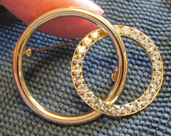 Vintage Pin, Stunning, Eye Catching, Statement Piece, I Love You, Double Circles, Gold & Cubic Ziconia ~ BreezyTownship.etsy.com    BP016
