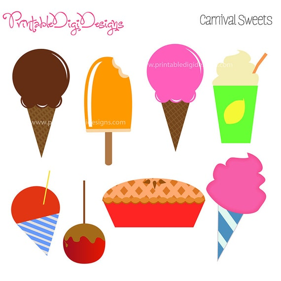 Items similar to Carnival Fair Fun Sweet Foods Clipart ...