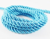 Turquoise Blue 5mm Twisted Rayon Satin Rope Silk Braid Cord - 3 Ply Twist - 1 meters - 1.09 Yards