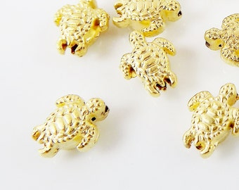 20 Tiny Turtle Bead Spacers - 22k Matte Gold Plated