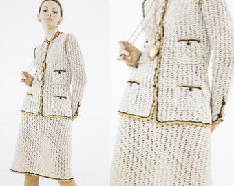 Crochet Pattern - Blazer Suit Dress Set - Mid Skirt & Jacket Office Suit Set - Vintage Pattern - PDF Instant Download - Digital Pattern