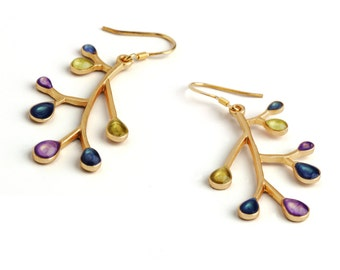 Gold Dangle Earrings, Branch Earrings for Women, Gold Twig Earrings, Nature Earrings, Multicolored Dangles, Xmas Shopping,Gifts for Xmas Her