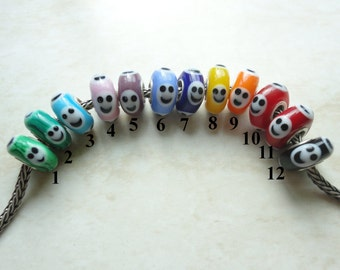 Opaque Smiley's - Lined - Small Core - OOAK Big Hole Handmade Lampwork Glass Bead SRA