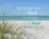 "May you always have a SHELL in your Pocket & Sand between Your Toes -BEACH House Coastal Cottage Living Word ""Turquoise Sea Grass"""