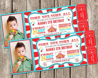 Vintage Circus Carnival Photo Invitation - Ticket Invitation - Carnival Circus Birthday Party - DIY Printable