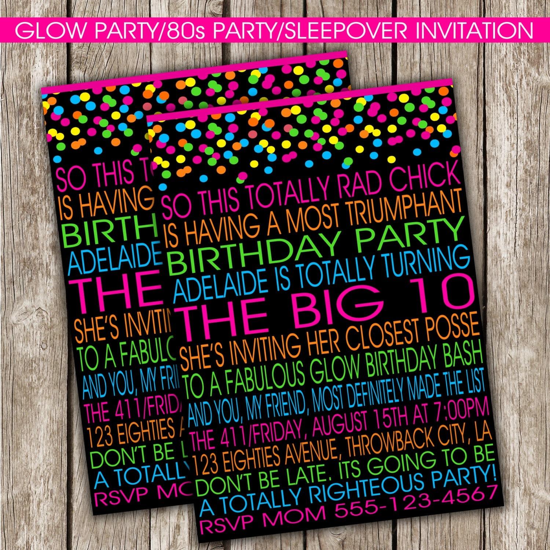 Glow Party Invitation 80s Birthday Party Glow Party DIY