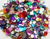 350 pcs lot --- Sew On Gems / Beads--- Mixed Colors -- Mixed Shapes Flat Back Gems ( Mixed sizes 3mm -- 40mm has thread holes )