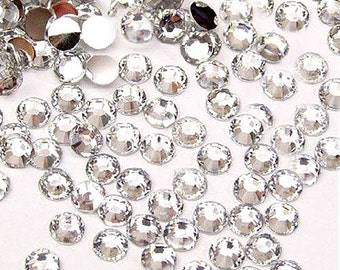 6mm 50 pieces Round Flat Back 14 facet cut Rhinestones  ---- Clear