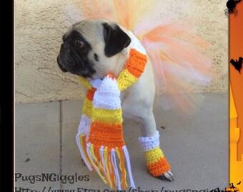 SET-Scarf-Leg-warmer-Tutu-pug-Candy Corn-Halloween-pet halloween costume-dog legwarmers-dog tutu-costumes for pet-halloween costume for pugs
