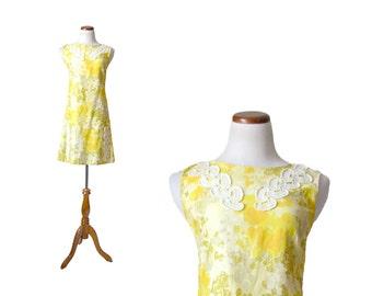 1960s Dress, 60s Dress, Yellow 60s Dress, Yellow 1960s Dress, Yellow Vintage Dress, Womens 60s Dress, Womens Clothing, Cotton Dress