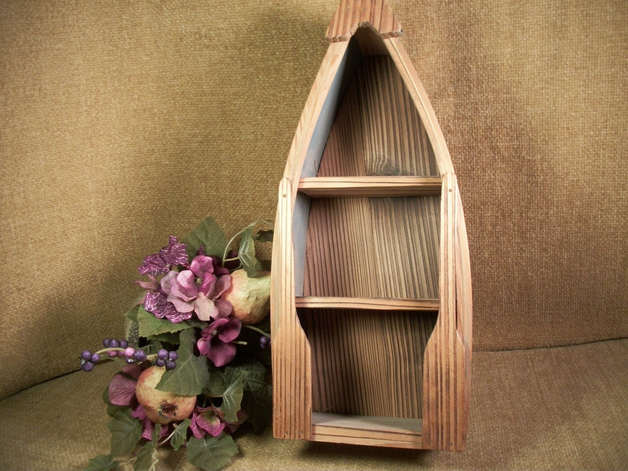 Wooden Boat Display Shelf Lodge Cabin Rustic Wall Hanging Home