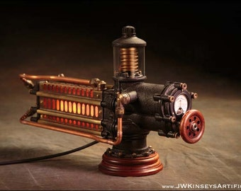 the Photonic Siphuncle Primary: a hand-made steampunk styled lamp