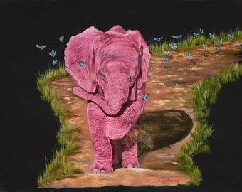 "Butterfly Friends 5"" x 7"" Print - 8"" x 10"" with matting. Pink Elephants"