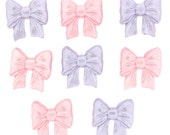 Light Pastel Princess Bows, Set of 8 Bow Buttons, Jesse James Dress It Up Buttons, Baby Girl Theme Sewing Buttons