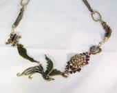 Necklace, bronze, bird, parrot, frog, beige stones, filigree,C, jewelry