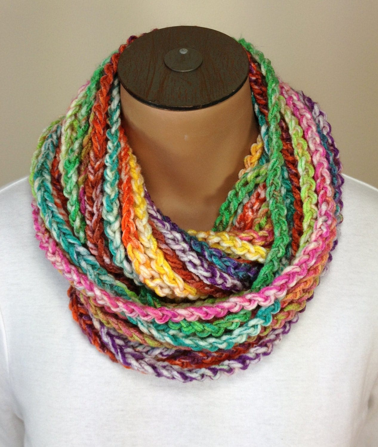 crochet chain necklace scarf multi colored scarf by