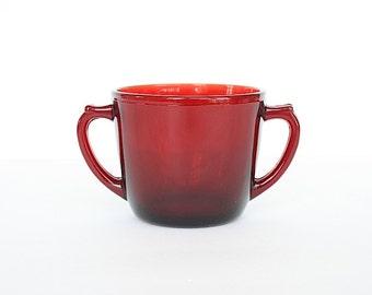 Red Glass Sugar Bowl - Ruby Red Glass - Vintage Sugar Bowl - Thanksgiving Table Decor - Christmas Table Decor - Vintage Glassware - Red Bowl