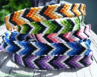 Colorful Ombre Chevron Style Friendship Bracelet - Orange, Green, Pink, Blue, and Purple