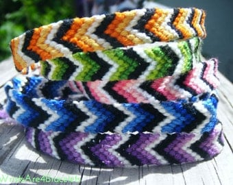 Colorful Ombre Chevron Style Friendship Bracelet - Orange, Green, Pink, Blue, and Purple - Best Seller