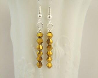 Gold Swarvoski Crystal Earrings