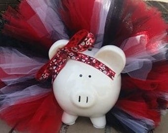 Red, Black and White Tutu Piggy Bank