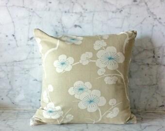 """16""""x16"""" Beige, Blue, & White Sakura Throw Pillow Cover"""