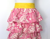 Pink Ruffle Apron with Yellow Ties Perfect Gift - Half Apron - Mother-in-law gift