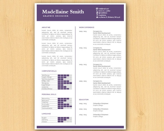 Elegant Microsoft Word Resume Template, Word CV Templates, DIY Resume ...
