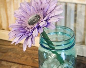Purple Gerber Daisy Flower Pen with Gem